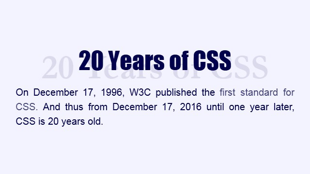20 Years of CSS